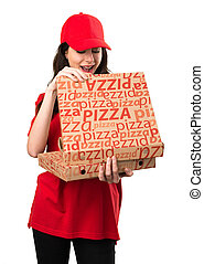 Pizza delivery woman making surprise gesture