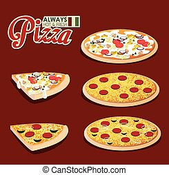 Pizza design, vector illustration. - Pizza design over red...