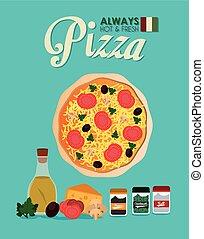 Pizza design, vector illustration. - Pizza design over blue...
