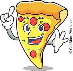 pizza, dessin animé, couper, doigt, mascotte