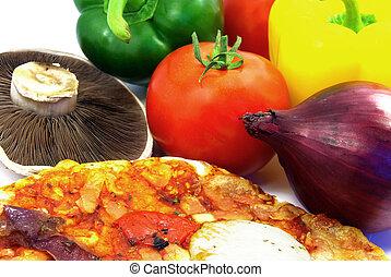 pizza, det, ingredientes