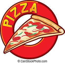 pizza, disegno, etichetta