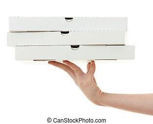pizza doos, met, hand, vrijstaand, op wit, achtergrond