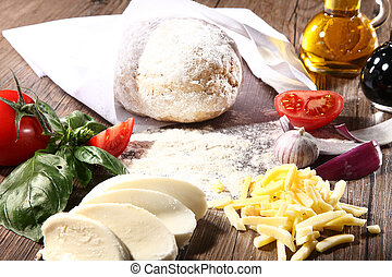 pizza dough with cheese