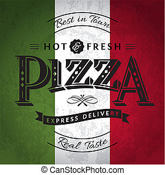 Pizza Label or Poster - Design Template