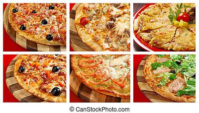 pizza, e, italiano, kitchen., collage