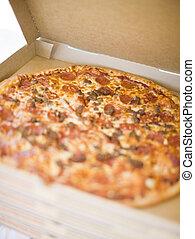 pizza, e, scatola pizza