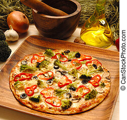 pizza, en, tabla