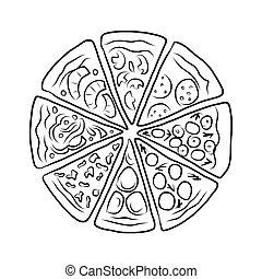 pizza, esboço, desenho, seu