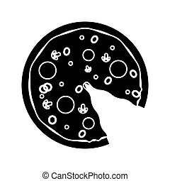 pizza fast food with salami pictogram