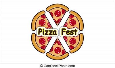 Pizza Fest Pizza Slices, art video illustration.