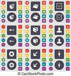 Pizza, Film camera, Arrow down, Arrow left, Wallet, Avatar, Star, Deploying screen, Silhouette icon symbol. A large set of flat, colored buttons for your design. Vector
