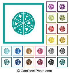Pizza flat color icons with quadrant frames on white...