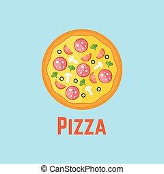 Pizza flat design vector illustration