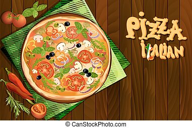 pizza, fond, italien