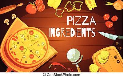 pizza, fondo, ingredienti