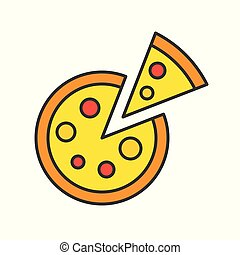 pizza, food and gastronomy set, filled outline icon
