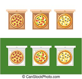 Pizza food box. Vector set of pizza icons isolated on delivery boxes. Pizza vector collection with cheese, mushrooms, sausage, bacon, salami, black olives, tomatoes and other.