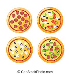 Pizza food circle. Vector set of pizza icons isolated on white background. Pizza vector collection with cheese, mushrooms, sausage, bacon, salami, black olives, tomatoes and other.