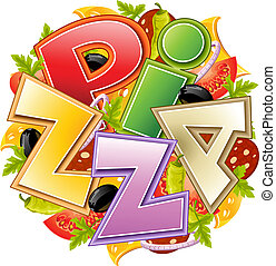 pizza food concept vector illustration isolated on white ...