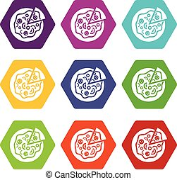 Pizza food icon set color hexahedron
