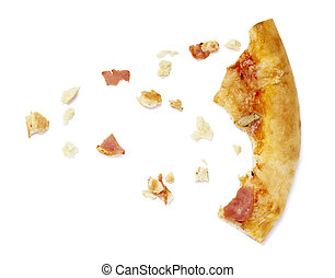 close up of pizza crumbs on white background with clipping path