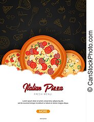 Pizza food menu for restaurant and cafe. Design template with hand-drawn graphic elements in doodle style. Vector Illustration.