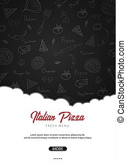 Pizza food menu for restaurant and cafe. Poster with hand-drawn graphic elements in doodle style. Vector Illustration.