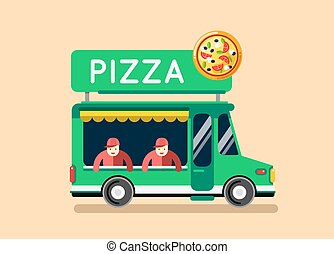 Pizza food truck city car. Food truck, auto cafe, mobile kitchen, hot fast food, Italian pizza. Design elements. Isolated on white. Street food car. Food truck Street food van.