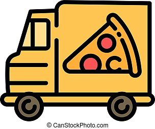 Pizza food truck icon, outline style