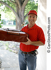 Pizza For You - A handsome delivery man holding an insulated...