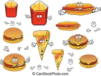 pizza, frigge, cibo, digiuno, hamburger, francese, hotdog