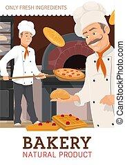 pizza, gâteaux, cuisson, cuisine, chefs, boulangers