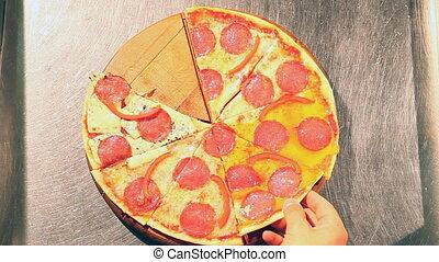 Pizza grab - HD - Pizza grab . high angle