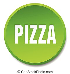pizza green round flat isolated push button