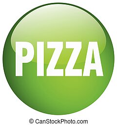 pizza green round gel isolated push button