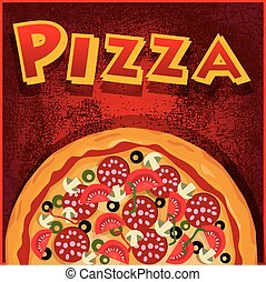 Pizza half, illustration useful for promoting pizzerias Also...