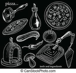 pizza, herramientas, para, cocina, y, ingredi