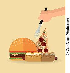 Pizza hot dog and hamburger design