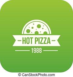 Pizza hot icon green vector