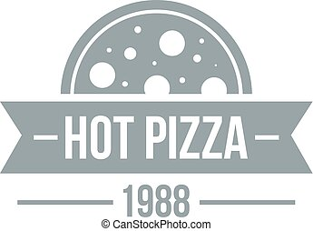 Pizza hot logo, simple gray style