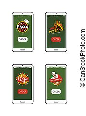 Pizza Hot Pizzeria Collection Vector Illustration