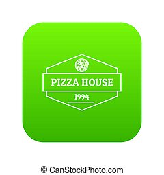 Pizza house icon green