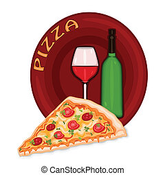 Pizza Icon - Slice of pizza icon with bottle and glass of...