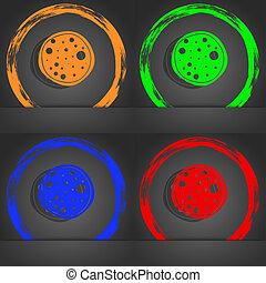 Pizza Icon. Fashionable modern style. In the orange, green, blue, red design.