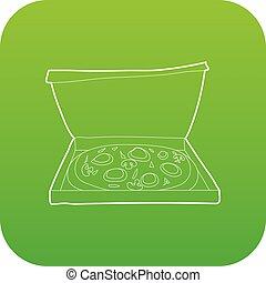 Pizza icon green vector