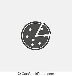 Pizza icon in a flat design in black color. Vector illustration eps10