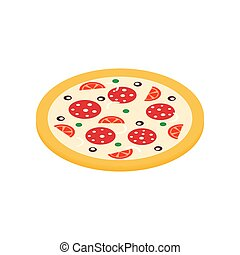 Pizza icon in isometric 3d style