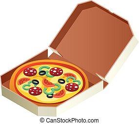 Pizza icon, isometric style