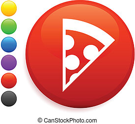 pizza icon on round internet button
